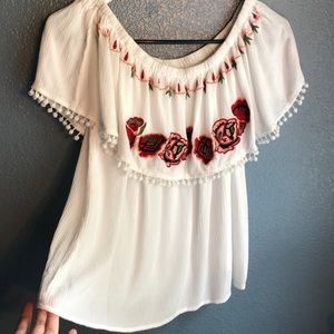 off the shoulder rose white top